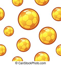 Gold football, soccer seamless background