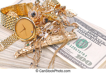 gold for cash - conceptual image of the old jewelry on the...