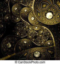 Colorful fractal flower pattern, digital artwork creative