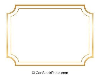 Gold frame. Beautiful simple golden design white