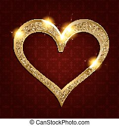 gold frame heart on a dark background