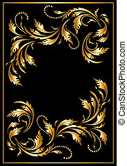 Gold frame in the Gothic style on a dark background. Banner. Frame.