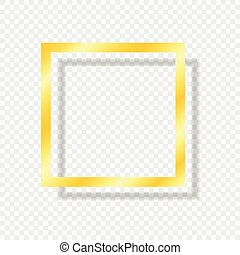 Gold frame isolated on a transparent light background with a shadow. Vector element for your design.