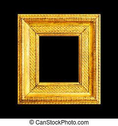 Gold frame isolated on black