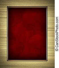 Gold frame isolated on red background