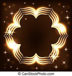 Gold frame light tracing effect flower
