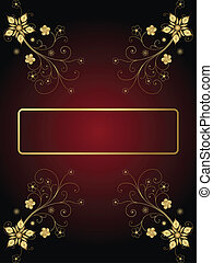 Gold Frame On A Dark Background With Flowers