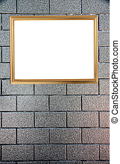 Gold frame on Background of stone.