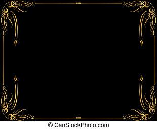 Gold frame on black backg