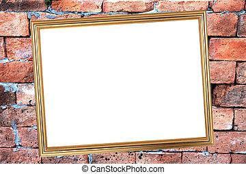 Gold frame on Brick Background of stone.