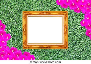 Gold frame on Grass green