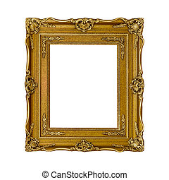 gold frame on the white background