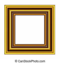Gold frame on white background
