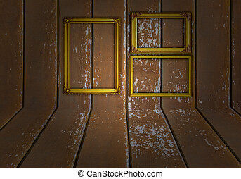 Gold frame on wood background