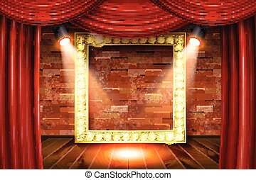 Gold frame on wood with red curtain