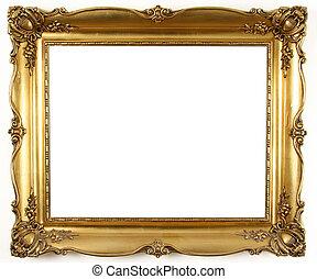 gold frame  - old antique gold frame over white background
