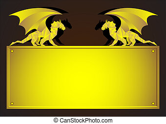 Gold frame with Dragon