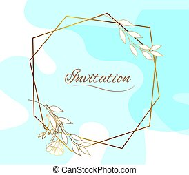 Gold frame. With geometric lines. Watercolor wedding invitation card with spots. Pastel blue stains. Contour geometric frame. Abstract background.