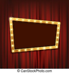 Gold frame with light bulbs on the red theatrical curtain.