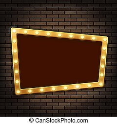 Gold frame with light bulbs on the red brick wall.