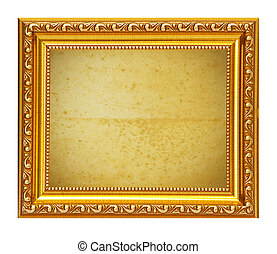 Gold frame with old paper