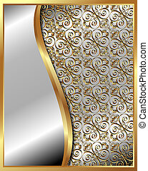 Gold frame with pattern and place for text for your design
