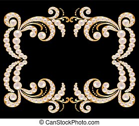 Gold frame with pearls