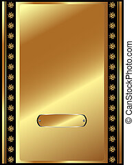Gold frame with plate and plant elements