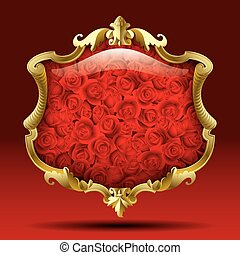 Gold frame with roses