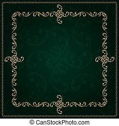 Gold frame with vintage floral elements