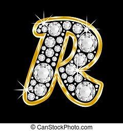 Gold framed alphabet filled with diamonds on black background, letter R