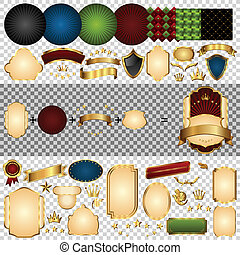 Gold-framed labels parts. Retro design template. Element for...