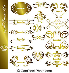 Gold frames set - Illustration vector