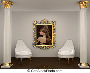 gold frames with picture of woman on the wall in royal...