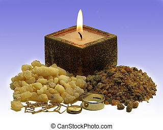 Gold, frankinsence and myrrh - Piles of frankinsence and...
