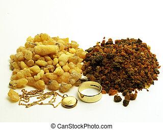 Gold, frankinsence and myrrh - Piles of frankincense and...