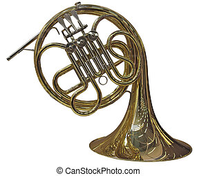 French Horn - Gold French Horn isolated on white background