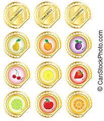 Gold fruit stickers