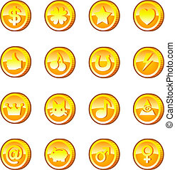 Gold game coins - Set of gold game coins with different...