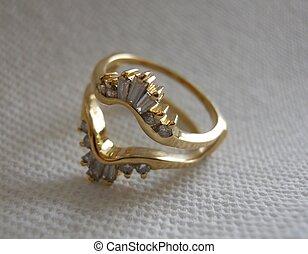 gold, gaurd, diamant, 14kt, ring