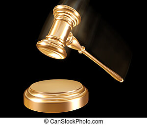 Gold gavel - A golden gavel striking down on a block