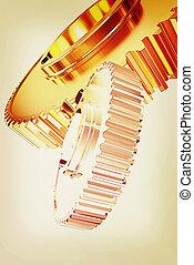 Gold gear set . 3D illustration. Vintage style.