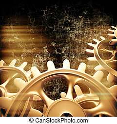 Gold gears and cogs macro