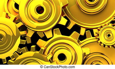 Gold gears on black background