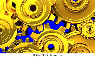 Gold gears on blue chroma key. 3DCG render animation.