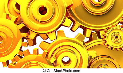 Gold gears on white background