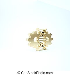 Gold Gene editing icon isolated on white background. Genetic engineering. DNA researching, research. 3d illustration 3D render