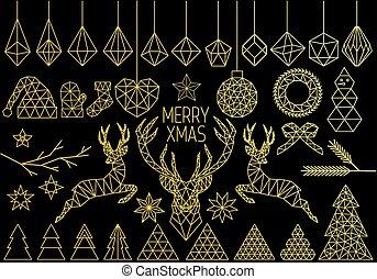 Gold geometric Christmas set, vector