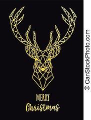 Gold geometric reindeer Christmas card, vector