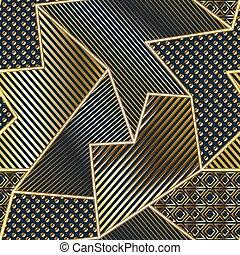 Gold geometric seamless pattern.